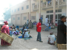 Relatives camp outside the hospital as it is too expensive to travel back and for.