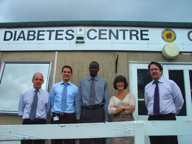 Some members of the module development team at the Diabetes Unit, Morriston Hospital. From Left to Right: Steve Allen, Alex Werhun, Lamin Jaiteh, Ros Thomas, Geoff Stephens.